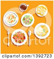 Clipart Of A Table Set With Norwegian Food On Orange Royalty Free Vector Illustration by Vector Tradition SM