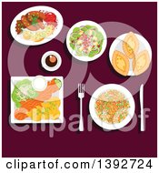 Clipart Of A Table Set With Finnish Food Royalty Free Vector Illustration