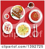 Clipart Of A Table Set With American Food On Red Royalty Free Vector Illustration