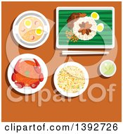 Poster, Art Print Of Table Set With Singaporean Food On Brown