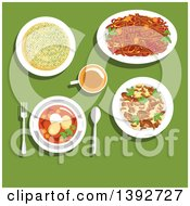 Clipart Of A Table Set With Belarussian Food On Green Royalty Free Vector Illustration