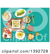 Clipart Of A Table Set With Traditional Chinese Food On Turquoise Royalty Free Vector Illustration