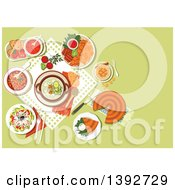 Clipart Of A Table Set With Bulgarian Food On Green Royalty Free Vector Illustration