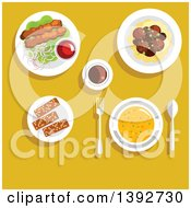 Clipart Of A Table Set With Arabian Food On Yellow Royalty Free Vector Illustration