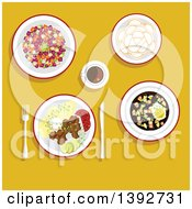 Clipart Of A Table Set With Russian Food On Yellow Royalty Free Vector Illustration