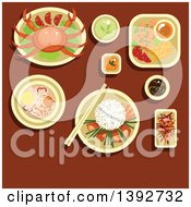 Clipart Of A Table Set With Vietnamese Food On Brown Royalty Free Vector Illustration