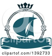 Clipart Of A Sailboat In A Circular Rope Frame With A Crown Over A Blank Banner Royalty Free Vector Illustration