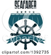 Clipart Of A Boat Sail And A Helm With Stars Seafarer Text And A Blank Banner Royalty Free Vector Illustration