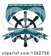 Clipart Of A Boat Sail And A Helm With A Blank Banner Royalty Free Vector Illustration
