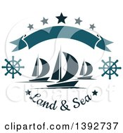Clipart Of Sailboats With Helms Under A Banner And Stars With Text Royalty Free Vector Illustration