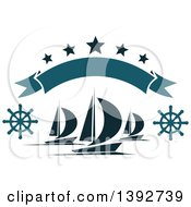 Clipart Of Sailboats With Helms Under A Banner And Stars Royalty Free Vector Illustration by Vector Tradition SM