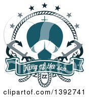 Clipart Of A Sailboat In A Circular Rope Frame With Anchors And A Text Banner Royalty Free Vector Illustration