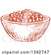 Clipart Of A Sketched Bowl Of Caviar Royalty Free Vector Illustration