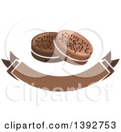 Clipart Of Chocolate Cookies Over A Banner Royalty Free Vector Illustration by Vector Tradition SM