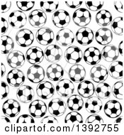 Seamless Pattern Background Of Black And White Soccer Balls