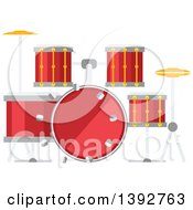 Clipart Of A Flat Design Drum Set Royalty Free Vector Illustration