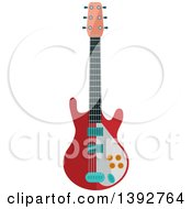 Clipart Of A Flat Design Electric Guitar Royalty Free Vector Illustration by Seamartini Graphics