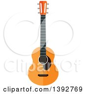 Clipart Of A Flat Design Acoustic Guitar Royalty Free Vector Illustration by Seamartini Graphics
