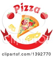 Slice Of Pizza With Text Cheese And Tomatoes Over A Blank Banner
