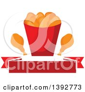 Clipart Of A Chicken Nuggets And Drumstick Bucket Over A Blank Banner Royalty Free Vector Illustration by Vector Tradition SM