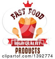 Clipart Of A Chicken Nuggets And Drumstick Bucket A Crown And Text Royalty Free Vector Illustration