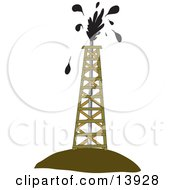 Drilling Tower Around An Oil Gusher Clipart Illustration