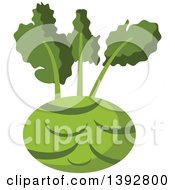 Clipart Of A Flat Design Kohlrabi Royalty Free Vector Illustration by Vector Tradition SM