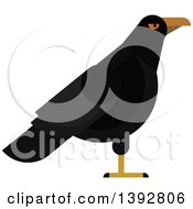 Clipart Of A Flat Design Raven Bird Royalty Free Vector Illustration