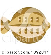 Clipart Of A Flat Design Flounder Fish Royalty Free Vector Illustration