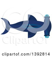 Clipart Of A Flat Design Hammerhead Shark Royalty Free Vector Illustration