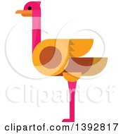 Clipart Of A Flat Design Ostrich Royalty Free Vector Illustration