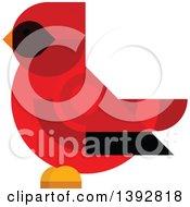 Clipart Of A Flat Design Cardinal Bird Royalty Free Vector Illustration