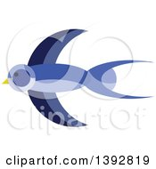 Clipart Of A Flat Design Swallow Bird Royalty Free Vector Illustration
