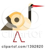 Clipart Of A Flat Design Stork Bird Royalty Free Vector Illustration by Vector Tradition SM