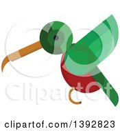 Clipart Of A Flat Design Hummingbird Royalty Free Vector Illustration