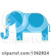 Clipart Of A Flat Design Blue Elephant Royalty Free Vector Illustration by Vector Tradition SM