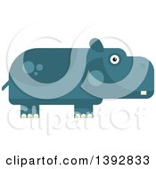 Clipart Of A Flat Design Hippopotamus Royalty Free Vector Illustration by Vector Tradition SM