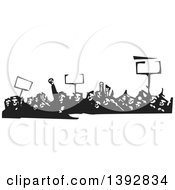 Clipart Of A Black And White Woodcut Crowd Of Protestors Holding Signs Royalty Free Vector Illustration