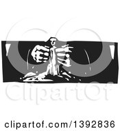 Poster, Art Print Of Black And White Woodcut Gods Hands Creating A Statue Of Man