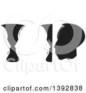 Clipart Of A Black And White Woodcut Vases And Abstract Faces Royalty Free Vector Illustration by xunantunich