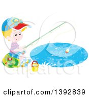 Clipart Of A Happy Little Caucasian Boy Sitting On A Bag And Fishing Royalty Free Vector Illustration by Alex Bannykh