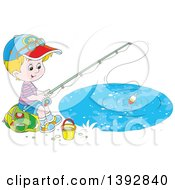 Clipart Of A Happy Little White Boy Sitting On A Bag And Fishing Royalty Free Vector Illustration