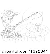 Clipart Of A Black And White Lineart Happy Little Boy Sitting On A Bag And Fishing Royalty Free Vector Illustration by Alex Bannykh