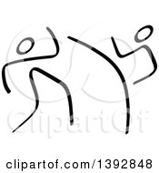 Clipart Of Black And White Olympic Taekwondo Stick Men Royalty Free Vector Illustration