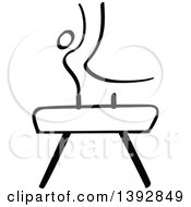 Clipart Of A Black And White Olympic Gymnast Stick Man Athlete On A Pommel Horse Royalty Free Vector Illustration