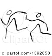 Clipart Of Black And White Olympic Track And Field Stick Men Athletes Relay Racing Royalty Free Vector Illustration