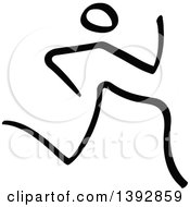 Clipart Of A Black And White Olympic Track And Field Stick Man Athlete Sprinting Royalty Free Vector Illustration