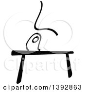 Clipart Of A Black And White Olympic Gymnast Stick Man Athlete On A Balance Beam Royalty Free Vector Illustration