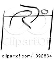 Clipart Of A Black And White Track And Field Stick Man Athlete High Jumping Royalty Free Vector Illustration