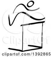 Clipart Of A Black And White Track And Field Stick Man Athlete Leaping A Hurdle Royalty Free Vector Illustration